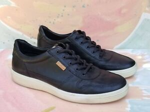 ECCO men's Soft 7 shoes 43 Black Leather Lace Up US size 9-9.5 Great Condition