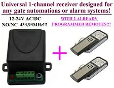 433,92MHz 1-ch receiver with 2 remotes for any gate automation AC/DC 12-24V