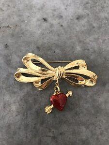 Vintage Pfister Cuore Freccia Pendente Oro Rosso Spilla