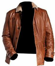 Mens Leather Motorcycle Rider Bomber Brown Leather Jacket Coat - Size Medium