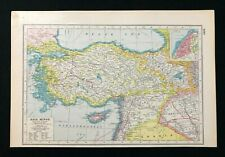 Vintage Colour Atlas Map 1920, ASIA MINOR, Inset of Smyrna, Harmsworth's Atlas