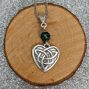 Handmade Silver Tone Triquetra Celtic Knot Heart Pendant Green Malachite Bead