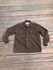 Vintage 1950s 1960s Briarcliff Brown Flecked Wool Shirt S