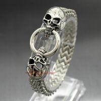 Stainless Steel Gothic Skull Cuban Franco Chain Men's Punk Biker Bracelet Bangle