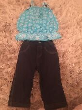 Preowned Girls 2T Children's Place Soft Denim Pants & Turquoise Top 100% Cotton