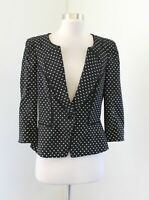 White House Black Market Polka Dot 3/4 Sleeve Peplum Ruffle Blazer Jacket Sz 10
