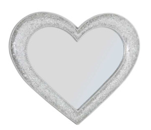 Crackle Mosaic Heart Mirror Stunning Glass Silver Frame Wall Mounted 64x54cm