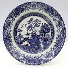 Vintage English Ironstone Tableware Old Willow Pattern Blue White Salad Plate