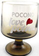 Pocono LOVE POTION Smoky Glass Goblet Stemware Honeymoon Barware Hearts