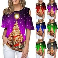 Women Christmas Tree Printed T-shirt Soft Short Sleeve Cold Shoulder Xmas Tops