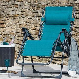 Zero Gravity Metal Sun Lounger - Teal Green: NDD (Reclining Garden Deck Chair)