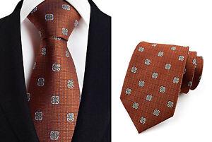 Tie Dark Orange White Handmade 100% Silk Wedding 8cm Width Necktie