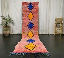 """Handmade Moroccan Boujad Vintage Runner Rug 2'7""""x11'4"""" Pink Berber Geometric Rug"""