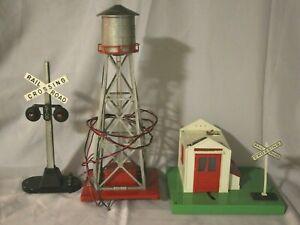 LIONEL 3 Piece Set: Bubble Tower, Rail Crossing Light, Lionelville crossing