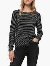 All Saints Medium 10 12 Top Tee T-shirt Black white Stripe Linen Mix NWT RRP £45