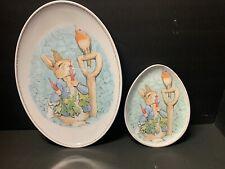 2p Pottery Barn Kids Easter Oval Platter + Plate Beatrix Potter Peter Rabbit New