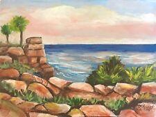 Cancun Seascape 9x12 Trees Rocks Waves Ocean Beach Acrylic Art Penny StewArt