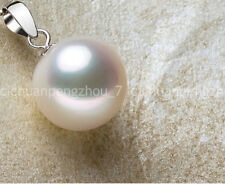 ON SALE NATURAL 14mm Beautiful White shell Pearl round bead Pendant Necklace 16""