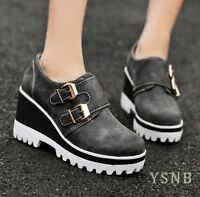 Fashion Womens Punk Buckle Strap Round Toe Platform High Wedge Heel Pumps Shoes