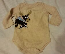 Boys Creeper Suit Sz Newborn Oatmeal Brown Baby Infant Kids 1-Piece
