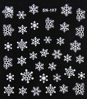 Christmas WHITE Glittery Snowflakes Xmas 3D Nail Art Stickers Decals Manicure