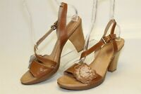 Naya NEW Airena Womens 10 M Brown Leather Slingbacks Sandals Heels Comfort Shoes