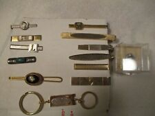 VINTAGE LOT OF (10) TIE CLIPS TIE CLASPS TIE BARS & Foster's Key Chain