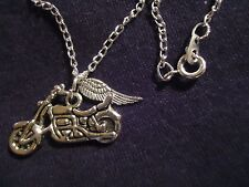 "Motorcycle Necklace 17"" Silver Chain Harley Davidson Guardian Angel Wing M17"