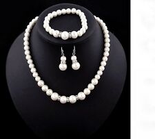 Women's Classic Simulated Pearl Necklace Bracelet And Earring Jewellery Gift Set