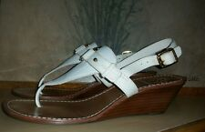 TORY BURCH Casey T-Strap Logo Leather Wedge Thong Sandal 8 M Bleach/Natural