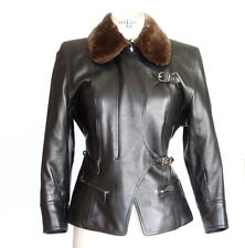 Hermes Jacket Leather w/ Detachable Fur Collar Hardware 42 / 8 mint