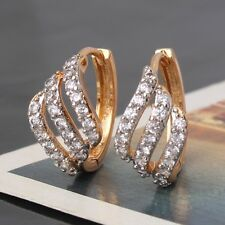 White sapphire 18k Gold Platinum filled HOLLOW Unique Woman Huggie earring