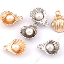 Imitation pearl Charm Sea shell Small Pendants Jewelry Making /Silver color 10pc