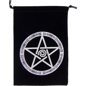 Black Velveteen Embroidered Pentacle Tarot Bag!
