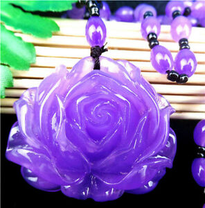 49x42x14mm Purple Jade Carved Flower Neckalce Chain Diameter:32cm AA1497.