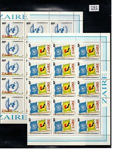 /// 25X ZAIRE - MNH - UNITED NATIONS - FLAGS - SHEETS BENT - 1985