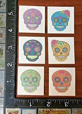 SUGAR SKULL MEXICAN FIESTA, SIX SINGLE TEMPORARY TATTOOS BEAUTIFUL DESIGN #VIVA