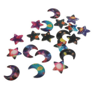 20pc Resin Star Moon Cabochons Cameo FlatBack Charms for Wedding Phone Craft
