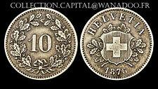 10 Rappen 1876 B Suisse. Billon. RARE. Cote: 110€