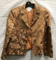 Oscar by Oscar De La Renta Golden Jacquard Blazer Jacket 100% Silk