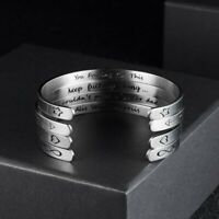 Stainless Steel Letters Inspirational Engraved Bracelet Cuff Bangle Keep Going