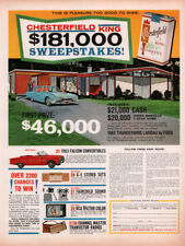 1962 A AD CHESTERFIELD CIGARETTE SWEEPSTAKES JOHNS MANVILLE HOME THUNDERBIRD