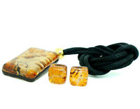 Murano Glass Pendant Earrings Set Orange from Venice