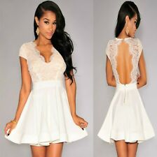 Sz 10 12 White Skater Lace Cap Sleeve Formal Gown Cocktail Party Sexy Chic Dress