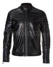 New Mens Philip Plein Black Punk Full Heavy Metal Spiked Studded Leather Jacket