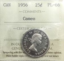 1956  25  Cents ICCS  PL66 Cameo Nice Toner Very Pleasing  Coin