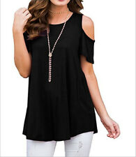 Plus Size Women Summer Cold Shoulder Tops Short Sleeve Blouse Casual T-Shirt Tee