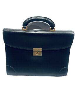 Valextra Milano Black Leather Men's Attache Briefcase Bag