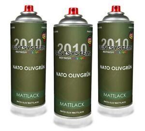 Nato Oliv MATT 3 Spraydosen je 400ml RAL6031 Hammerpreis Profiqualität Sprühlack