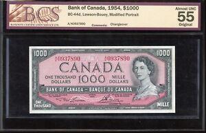 1954 Bank of Canada $1000 - BCS AU55, Original